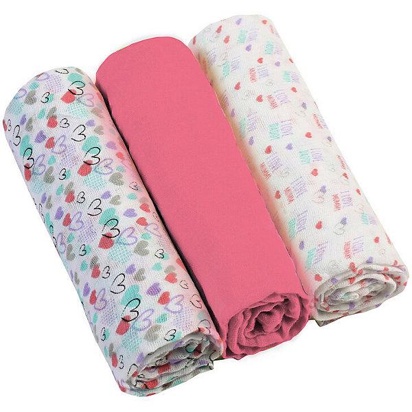 Купить Набор пеленок BabyOno, 3 шт, Китай, розовый, Женский