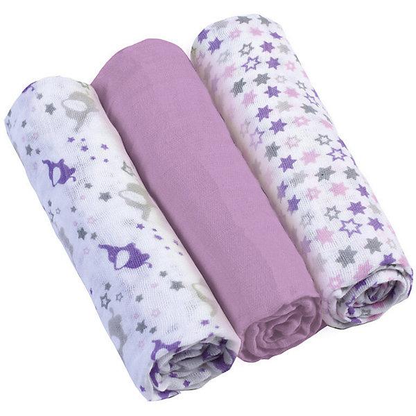 Купить Набор пеленок BabyOno, 3 штуки, Набор пеленок BabyOno лиловый, Китай, Женский