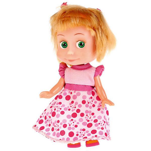 Купить Кукла Карапуз Маша и Медведь , Маша в платье день рождения, 15 см, озвученная, Китай, Женский
