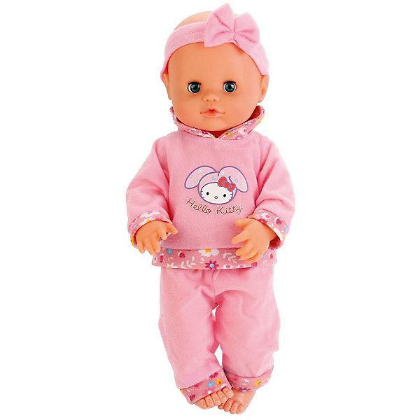 Интерактивная кукла-пупс Карапуз Hello Kitty с набором доктора 40 смИнтерактивные куклы<br>Характеристики:<br><br>• материал: пластик, текстиль<br>• в комплекте: кукла, бутылочка, звуковой и световой стетоскоп, градусник, шприц<br>• высота куклы: 40 см<br>• работает без батареек<br>• упаковка: картонная коробка<br>• страна бренда: Россия<br><br>Кукла пьёт воду из бутылочки, а затем сразу ходит в туалет на горшочек. Если малышка заболеет, аксессуары врача помогут победить болезнь. Стетоскоп издаёт звук сердца и мигает красными вспышками. Не боится влаги, игрушку можно купать. Если уложить её в кроватку, глазки закроются, и она уснёт. Личико детально и качественно проработано. Развивает чувство ответственности, звуковое восприятие и память.