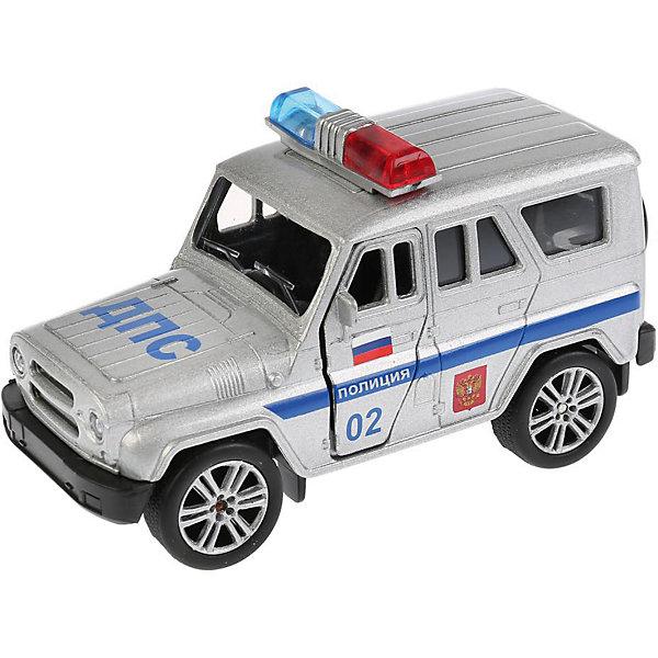 Машинка Технопарк Uaz Hunter Полиция, 11,5 смКоллекционные машинки<br>Характеристики:<br><br>• материал: пластик, металл<br>• размер машинки: 11,5 см<br>• упаковка: картонная коробка<br>• страна бренда: Россия<br><br>Игрушка выполнена в точной копии настоящей модели. Обладает инерционным механизмом, поедет вперёд, если её предварительно оттянуть и отпустить. Передние двери автомобиля и багажник открываются. Внутри детально проработанный салон. Развивает моторику и фантазию.