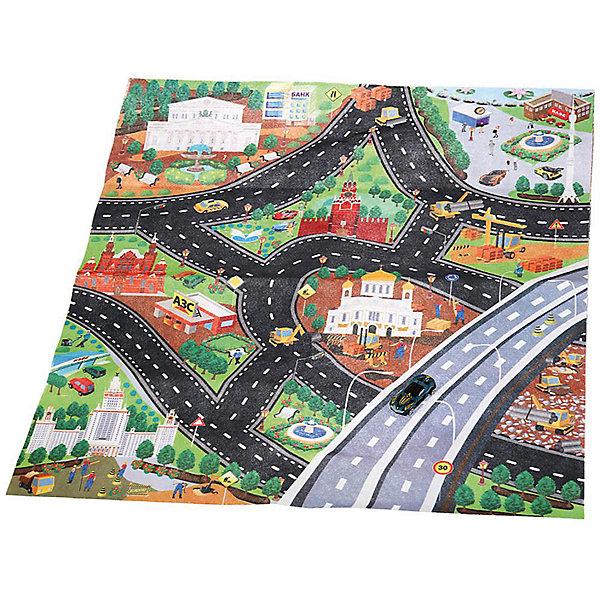 ТЕХНОПАРК Игровой коврик Технопарк Гонки, с одной машинкой игровой коврик dwinguler medium 12 dino land двусторонний 190 х 130 см
