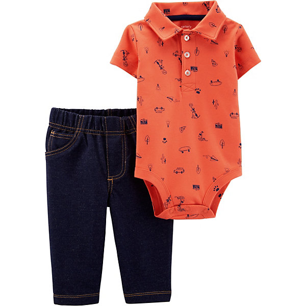 Купить Комплект: боди и брюки carter's для мальчика, carter`s, Индия, оранжевый, 80/86, 72-78, 67-72, 80/84, Мужской