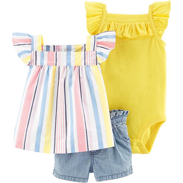 carter`s Комплект: блузка, боди и шорты carter's для девочки