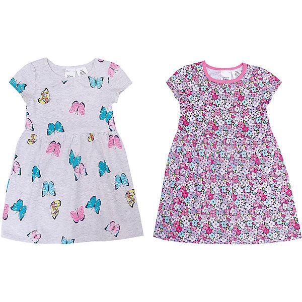 Платье 2 шт carter's для девочкиПлатья<br>Характеристики:<br><br>• состав ткани: 100% хлопок<br>• сезон: лето<br>• страна бренда: США<br><br>В комплекте два платья с короткими рукавами. Украшены рисунком с цветами и бабочками. Имеют комфортный и свободный крой. Отрезная юбка от линии талии, небольшие складки. Натуральная ткань превосходно дышит.
