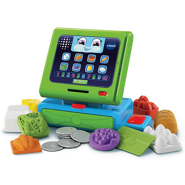Игровой набор Vtech Моя интерактивная касса, свет/звукИнтерактивные игрушки для малышей<br>Характеристики:<br><br>• материал: пластик<br>• в комплекте: касса, карта покупателя, 10 монет, 8 продуктов <br>• отличительные особенности: 160 песен, фраз и забавных звуков<br>• страна бренда: Китай<br><br>Яркая интерактивная касса может стать хорошим средством для развития ребенка. На ее экране изображены продукты и цифры, а при нажатии на картинки воспроизводятся их названия. Внизу расположена кнопка Итог. Если коснуться ее, касса озвучит, какое количество монет необходимо для оплаты. Во время того, как ребенок будет класть монеты в специальное отверстие под экраном, игрушка будет светиться и вести счет. Занятия с игровым набором могут способствовать стимулированию развития мелкой моторики рук, речи, памяти, а также зрительного восприятия формы и цвета. Интерактивная игрушка изготовлена из качественного и безопасного для здоровья материала.