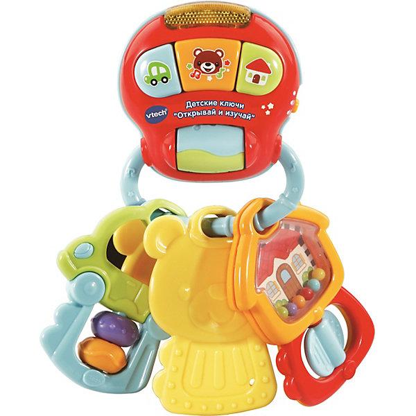 Развивающая игрушка Vtech Открывай и изучай, звукИнтерактивные игрушки для малышей<br>Характеристики:<br><br>• материал: пластик<br>• страна бренда: Китай<br><br>Яркая интерактивная игрушка может стать хорошим средством для развития малыша. Разноцветные ключики расположены на электронном кольце со специальными кнопками, при нажатии на которые воспроизводятся различные мелодии и забавные звуки. На трех ключах находятся яркие элементы, которые можно рассматривать и передвигать вокруг собственной оси, а если за них потянуть или встряхнуть игрушкой, будут звучать фразы, звуковые эффекты и песенки. Развивающая игрушка может стимулировать развитие мелкой моторики рук, речи, зрительного восприятия формы и цвета. Ключики изготовлены из качественного и безопасного для здоровья материала.