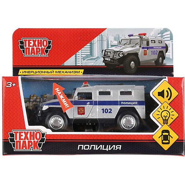 Инерционная машина Технопарк Бронемашина, ПолицияМашинки<br>Характеристики:<br><br>? материал: пластмасса, металл<br>? длина: 12 см<br>? упаковка: коробка с окошком<br><br>Коллекционная модель бронемашины выполнена в реалистичном дизайне с надписями «Полиция», «102» и тщательно продуманными деталями: защищенным люком в крыше, усиленный бампер типа «кенгурятник», боковыми зеркалами, сигнальным проблесковым маячком, выведенной наверх выхлопной трубой и задним креплением для «запаски». Броневик оснащен надежной колесной базой с рисунком протектора на шинах и инерционным механизмом: если потянуть автомобиль на себя и отпустить, то он сразу же поедет вперед. Если надавить сверху на корпус, то нажмется кнопка внизу и активируются звуковые и световые эффекты. Передние двери открываются и закрываются. Игрушка пригодится в сюжетно-ролевых играх, поможет в проигрывании различных жизненных сценариев, в развитии воображения, координации, ловкости и речи.