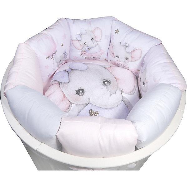 Купить Комплект в кроватку Эдельвейс Акварельки , 6 предметов, Россия, розовый/белый, Женский