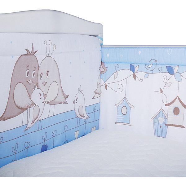 Бортик на кроватку Эдельвейс Птички, голубойПостельное белье в кроватку новорождённого<br>Характеристики:<br><br>• в комплекте: бортик 40х120 см – 2 шт., 40х60 см – 2 шт.<br>• страна бренда: Россия<br><br>Бортик крепится на перила кроватки с помощью завязок. Сделан из прочной гипоаллергенной ткани, которая хорошо пропускает воздух и приятна на ощупь. Швы и строчки выполнены аккуратно. Бортик защищает малыша от ударов о мебель, делает спальное место более уютным.
