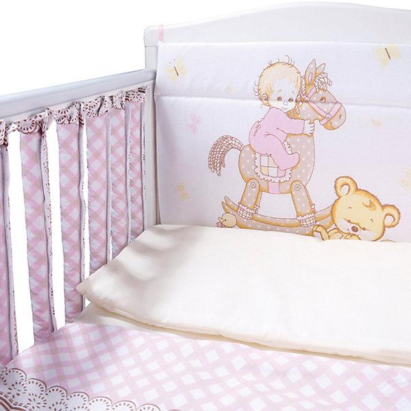 Купить Комплект в кроватку 6 пр. Моя лошадка (бортик-фенсы) бязь, Эдельвейс, Россия, розовый, Женский