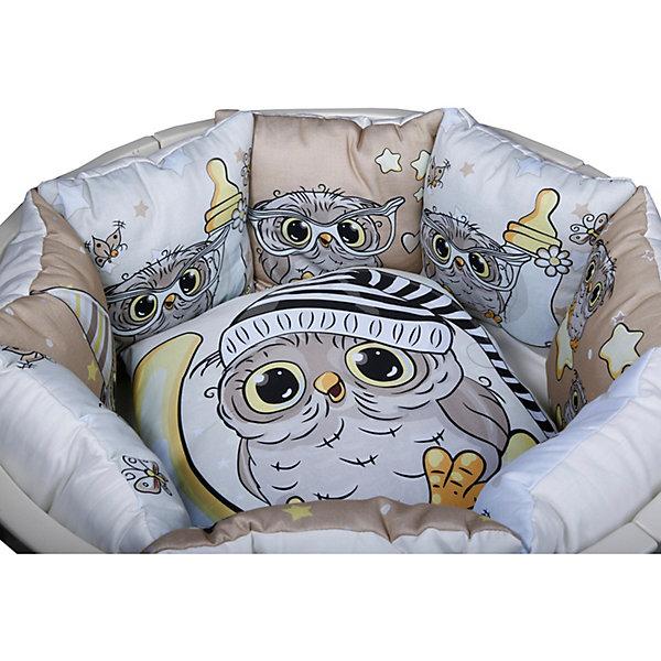 Комплект в кроватку Эдельвейс Совята, 6 предметов, бежевыйПостельное белье в кроватку новорождённого<br>Характеристики:<br><br>• тип ткани: сатин<br>• в комплекте: бортик составной (12 частей 30х30 см, съемные наволочки), одеяло 110х140 см, подушка 40х60 см, пододеяльник 110х140 см, простыня на резинке 90х150 см, наволочка 40х60 см<br>• страна бренда: Россия<br><br>С помощью комплекта можно полностью обустроить детскую кроватку. Мягкие бортики не дадут малышу удариться о части мебели. Материал комплекта отличается прочностью. Ткань хорошо пропускает воздух и впитывает влагу, не вызывает аллергии.