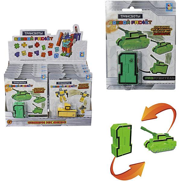 Трансботы 1Toy Боевой расчёт, цифра 1Трансформеры-игрушки<br>Характеристики:<br><br>• размер игрушки: 5,5*5*2 см <br>• упаковка: блистер<br><br>Цифра 1 трансформируется в военную машину «Разрушитель». Всего в коллекции представлены цифры от 0 до 9, которые трансформируются в боевую технику, а также математические знаки деления, умножения, сложения и вычитания, превращающиеся в роботов-пехотинцев. Если соединить отряд из 10 трансботов-чисел в нужной комбинации, то можно построить Мегабота.