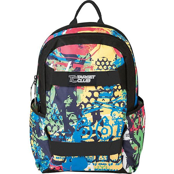 Рюкзак  Target Collection Straps Crazy colorРюкзаки<br>Характеристики:<br><br>• тип товара: рюкзак<br>• материал: текстиль<br>• застежка: молния<br>• размер: 44х31х16 см<br>• страна бренда: Словения<br><br><br>Рюкзак со стильным дизайном разработан из качественных материалов. Они прочные и безопасные. Для хранения вещей сделано два вместительных отделения. Одно из них имеет разделитель, а второе вшитые карманы для мелкий вещей. Спереди есть закрывающийся на молнию карман. Лямки можно отрегулировать по длине.