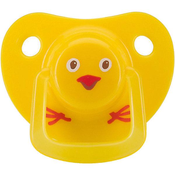 Пустышка Happy Baby «Цыпленок», 0-12 месяцев, желтая