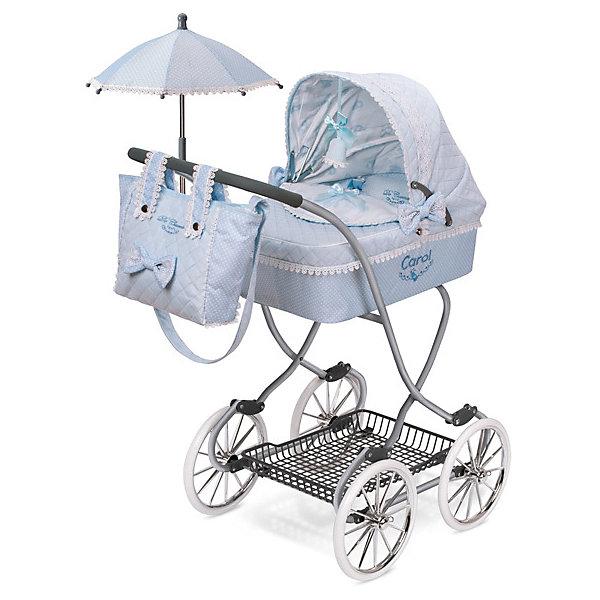 Купить Коляска для кукол DeCuevas Кэрол с сумкой и зонтиком, 90 см, Испания, синий/белый, Женский