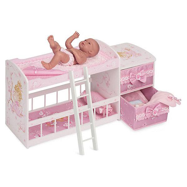 Купить Двухъярусная кроватка для кукол DeCuevas Мария , 80 см, Испания, розовый/белый, Женский