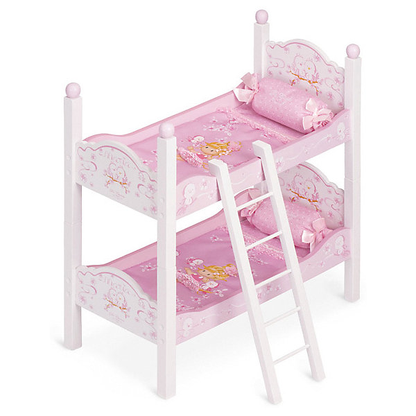 Купить Двухъярусная кроватка для кукол DeCuevas Мария , 57 см, Испания, розовый/белый, Женский
