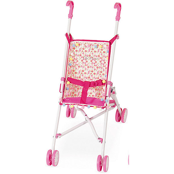 Коляска-трость для кукол DeCuevas, розовая, 56 смТранспорт и коляски для кукол<br>Характеристика:  <br><br>• материал: метал, пластик, текстиль <br><br>Легкая и небольшая складная коляска-трость может стать хорошей помощницей для ее обладателя. В ней ребенок может катать свою куклу. Каркас изделия выполнен из качественного и легкого материала, а также он устойчив к механическим повреждениям. Отличительной особенностью коляски является то, что она снабжена ремнями безопасности, которые помогут зафиксировать положение куклы. Дизайн коляски детально проработан, поэтому изделие очень похоже на настоящее транспортное средство для ребенка.