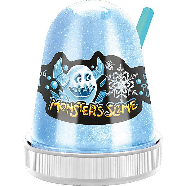 Слайм Monster Slime Цветной Лед, голубой, 130 грСлаймы<br>Характеристики товара:<br><br>• материал: полимер, красители<br>• в комплекте: слайм, трубочка для выдувания пузырей<br>• ароматизированный<br>• с перламутровыми блестками <br><br>Слайм обладает удивительными физическими свойствами, которые делают игрушку невероятно интересной.<br><br>Он может растекаться как жидкость и тянуться как жвачка. Его можно мять и даже выдуть погромный пузырь при помощи трубочки, входящей в комплект.