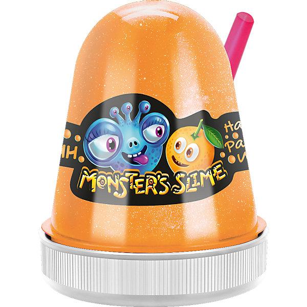 Слайм Monster Slime Яркий Апельсин, 130 грСлаймы<br>Характеристики товара:<br><br>• материал: полимер, красители<br>• в комплекте: слайм, трубочка для выдувания пузырей<br>• ароматизированный<br><br>Слайм обладает удивительными физическими свойствами, которые делают игрушку невероятно интересной.<br><br>Он может растекаться как жидкость и тянуться как жвачка. Его можно мять и даже выдуть погромный пузырь при помощи трубочки, входящей в комплект.