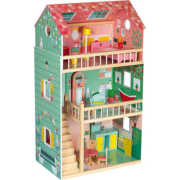 Купить Кукольный домик Janod Happy Day, 12 элементов мебели, Китай, бирюзовый, Женский
