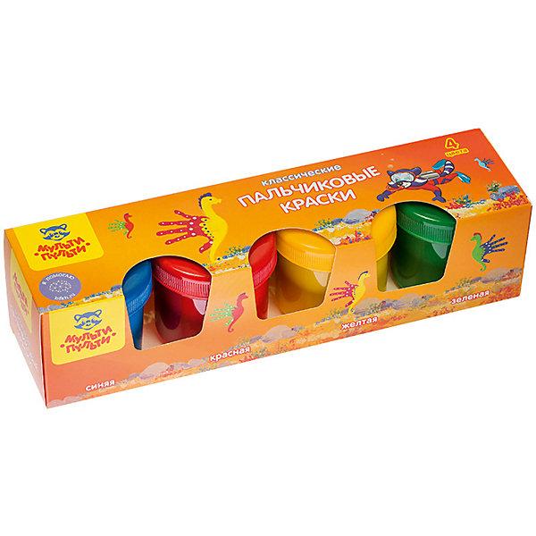 Мульти-Пульти Краски пальчиковые Морские приключения Енота, 4 цвета