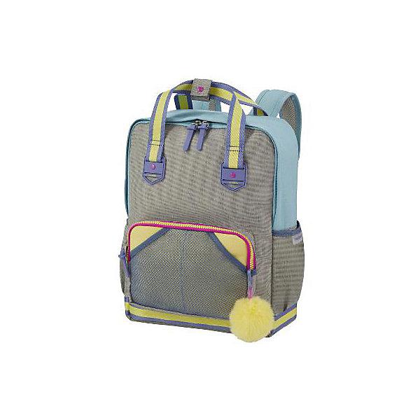 Рюкзак Samsonite, пастельный голубойРюкзаки<br>Характеристики:<br><br>• материал: полиэстер<br>• размер товара: 30х36х14 см<br>• объем: 15,5 л<br>• страна бренда: США<br><br>Стильный рюкзак оснащен одним вместительным отделением с карманом-перегородкой внутри. С внешней стороны спереди есть карман на молнии, а по бокам два на резинке. Модель украшена брелоком. Спинка и мягкие лямки комфортно прилегают к телу. Ремешки регулируются под рост ребенка, можно свести их на груди для снижения нагрузки на плечи. Также предусмотрены две ручки для переноски в руке, они соединяются наверху рюкзака для удобства. Материал хорошо отталкивает влагу и отличается прочностью.