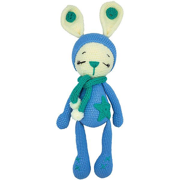 Niki Toys Вязаная игрушка Зайчонок Астерикс, голубой, 45см