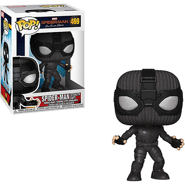 """Funko Фигурка Funko POP! Bobble: Marvel """"Человек-паук: Вдали от дома"""" Человек-паук в стелс костюме, 39208"""