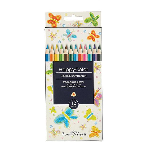 Bruno Visconti Карандаши цветные HappyColor, 12 цветов, Bruno Visconti цветные карандаши 12 цветов