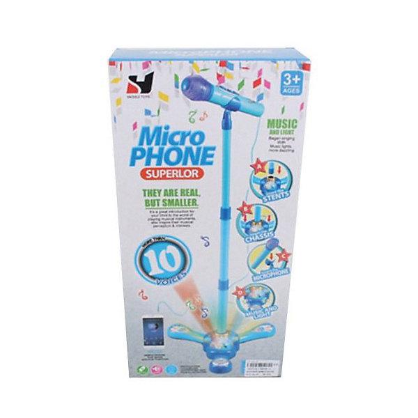 Наша Игрушка Микрофон на стойке игрушка, свет/звук