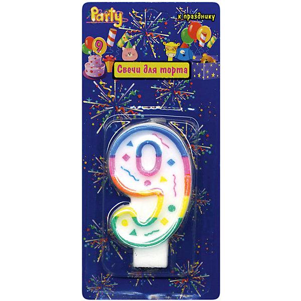 ACTION! Свеча для торта Action! Цифра 9, разноцветная, 7 см мой маленький пони свеча для торта цифра 3