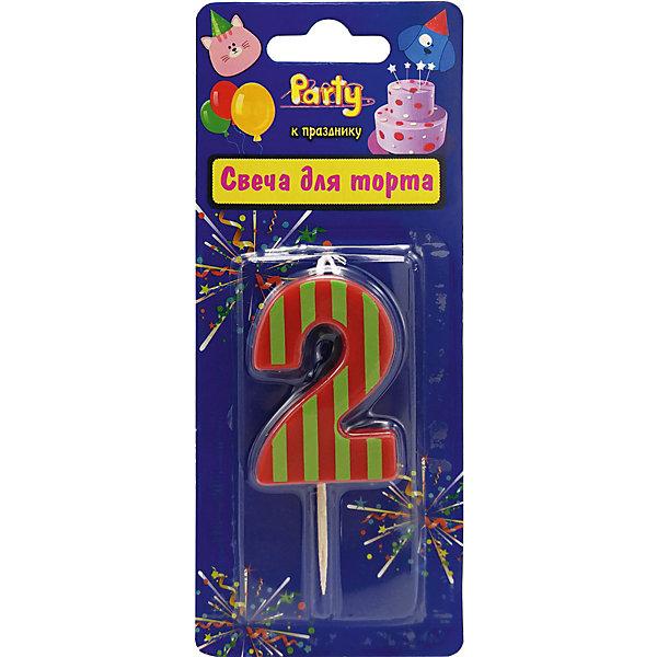 ACTION! Свеча для торта Action! Цифра 2, разноцветная, 4,8 см