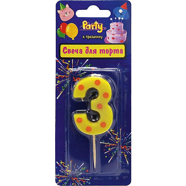 ACTION! Свеча для торта Action! Цифра 3, разноцветная, 4,8 см мой маленький пони свеча для торта цифра 3