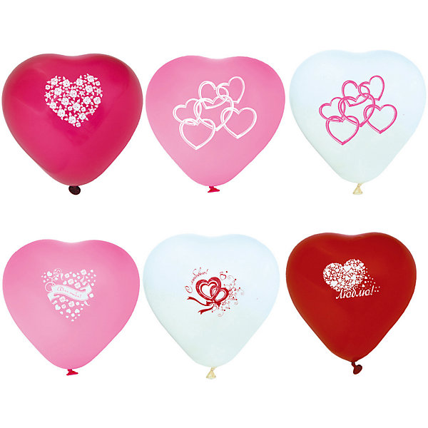 """ACTION! Воздушные шары Action! """"Сердечки"""" С принтом I Love You, разноцветные, 10 шт"""