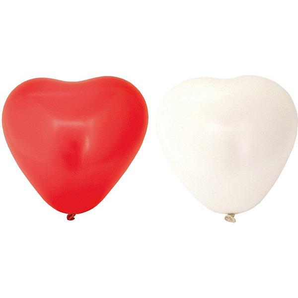 Купить Воздушные шары Action! Сердечки красные и белые, 10 шт, Китай, Унисекс
