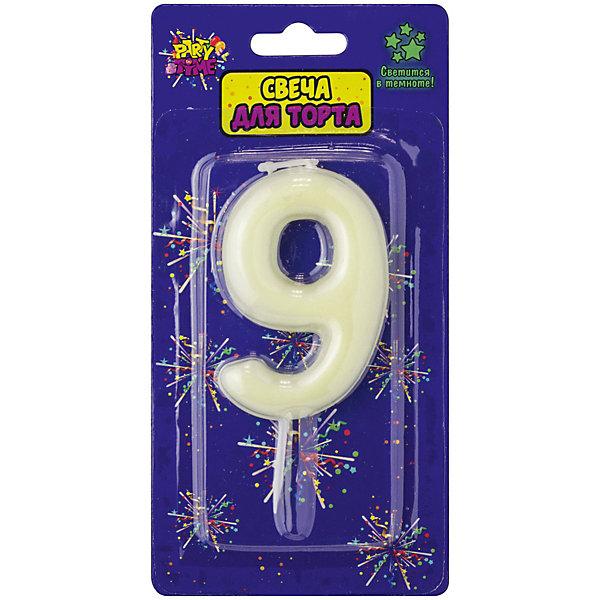 Купить Флюоресцентная свеча для торта Action! Цифра 9 , с держателем, Китай, Унисекс