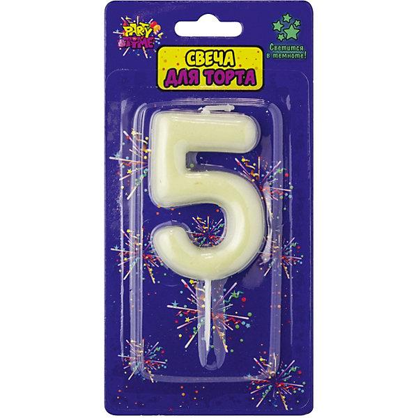 ACTION! Флюоресцентная свеча для торта Action! Цифра 5, с держателем