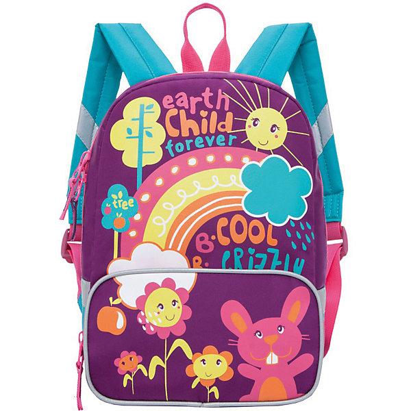 Рюкзак детский Grizzly, лилово - бирюзовыйДетские рюкзаки<br>Характеристики товара:<br><br>• одно отделение, передний карман на молнии, внутренний карман на резинке<br>• особенности: мягкая спинка, укреплённые лямки, светоотражающие элементы с четырех сторон<br>• материал: микрофибра<br>• вес: 0,319 кг<br>• страна бренда: Россия<br><br>Рюкзак с весёлыми рисунками понравится младшим школьникам. Изделие очень лёгкое и безопасное для неокрепшей спинки ребёнка. Со всех четырёх сторон рюкзак оснащён светоотражающими элементами - малыша можно заметить даже поздним вечером и не переживать за безопасность на дороге. Изделие крепкое, выполнено из современных материалов и прослужит не один год.