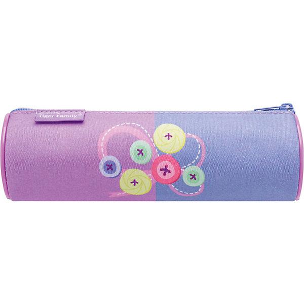 TIGER FAMILY Пенал-тубус на молнии PLAYFULL KITTEN, 1 отд.,без нап.,разм. 21х5,5х5,5 см, роз/фиолетовый, для дев.