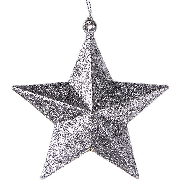 Феникс-Презент Украшение Fenix-present Звезда в серебряном глиттере