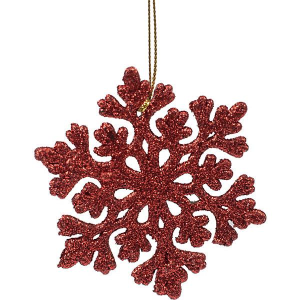 Феникс-Презент Украшение Fenix-present Снежинка ажурная, красное