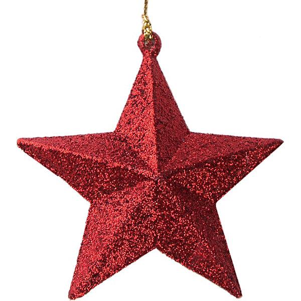 Феникс-Презент Украшение Fenix-present Звезда в красном глиттере