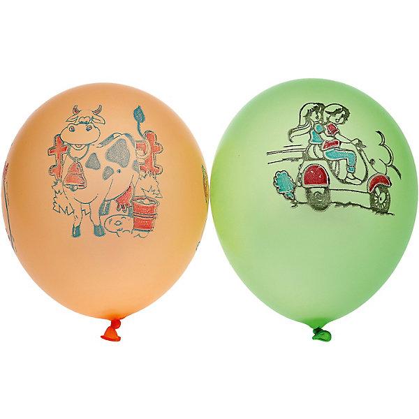 Gemar Воздушные шары Неон ассорти, с рисунком, 100 шт