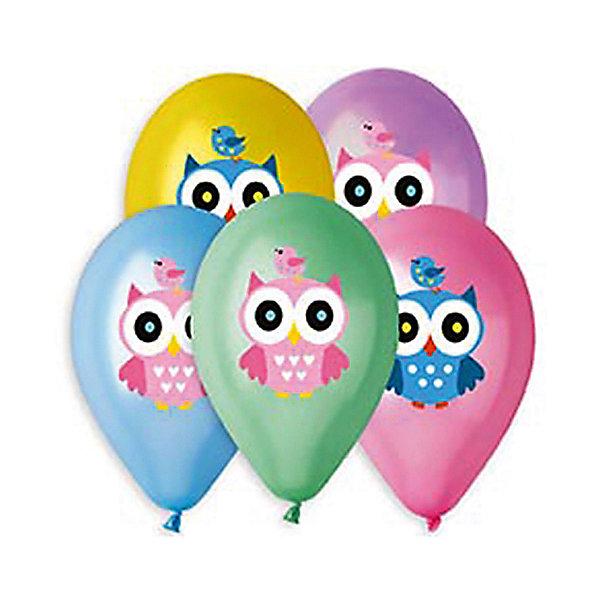 Belbal Воздушные шары Совушка, металлик, с рисунком, 50 шт