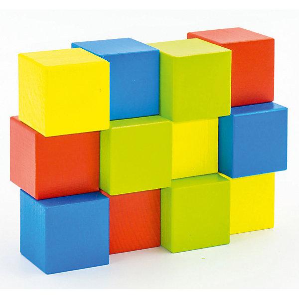 Alatoys Набор Кубики деревянный окрашенный, 12 шт. в наборе, 4 цвета