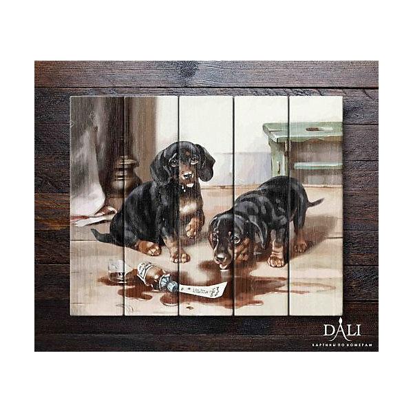Картина по номерам по дереву ДАЛИ Два щенка , Dali, Россия, Унисекс  - купить со скидкой