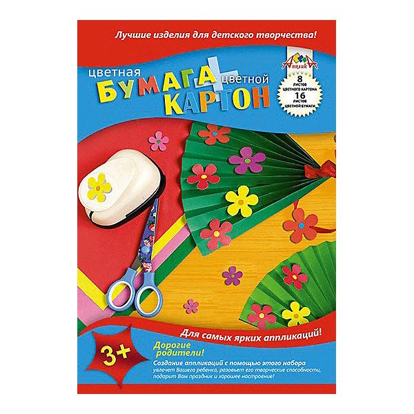 АппликА Набор цветного картона и бумаги Апплика Веер 8 и 16 листов А4 апплика набор для творчества апплика декоративные пайетки новый год ёлочки