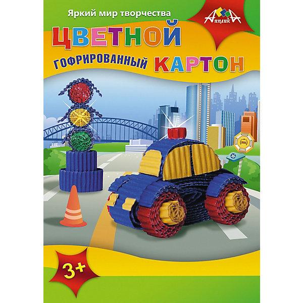 Купить Цветной гофрокартон Апплика Машинка 5 листов А4, АппликА, Китай, разноцветный, Мужской